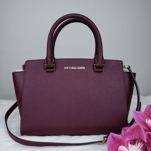 🌺NWT Michael Kors MD Selma Satchel bag merlot MK